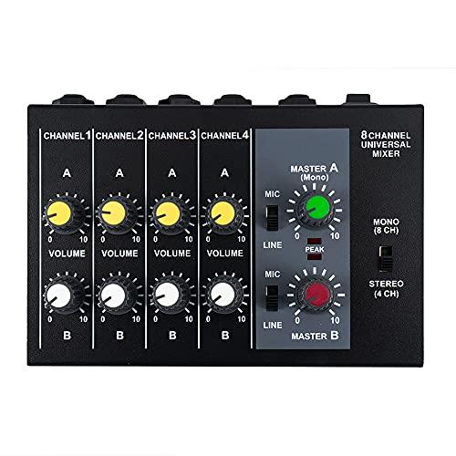 SNOWINSPRING Consola de Mezclas Consola Mezcladora de Sonido de Audio Ultracompacta de 8 Canales Mono EstéReo con Cable Adaptador de Corriente, Enchufe de la UE