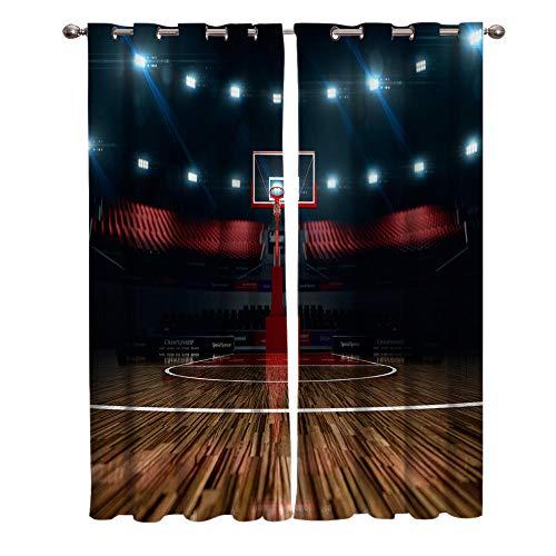 MXYHDZ Cortinas Salón Opacas - Deportes cancha de Baloncesto Luces - Impresión 3D Aislantes de Frío y Calor 90% Opacas Cortinas - 234 x 229 cm - Salon Cocina Habitacion Niño Moderna Decorativa