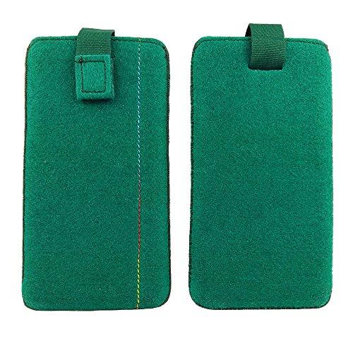 handy-point 5,0'' Filztasche Tasche Hülle aus Filz für Samsung, iPhone, Sony, Lenovo Moto, Huawei, Alcatel, Gigaset, Medion, Neffos, Geräte mit Max.14,2x7,3xx1cm (Grün dunkel)