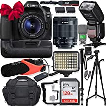 Canon EOS 80D DSLR Camera w/Canon 18-55mm STM Lens Kit + Pro Photo & Video Accessories Including 128GB Memory, Speedlight TTL Flash, Battery Grip, LED Light, Condenser Micorphone, 60