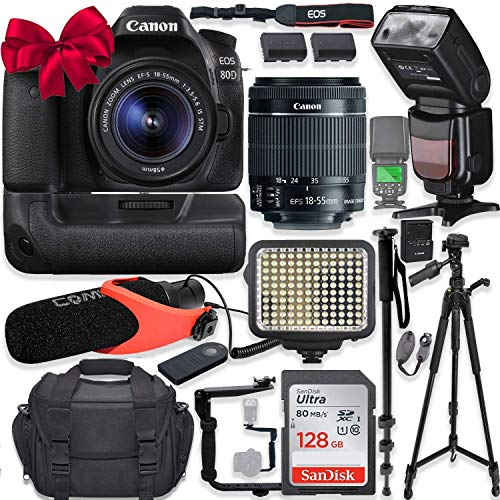 Canon EOS 80D DSLR Camera w/Canon 18-55mm STM Lens Kit + Pro Photo & Video Accessories Including 128GB Memory, Speedlight TTL Flash, Battery Grip, LED Light, Condenser Micorphone, 60' Tripod & More