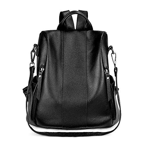SUVOM Genuine Leather Backpack for Women Waterproof Antitheft Fashion Ladies Rucksack Cute Shoulder School Bag Lightweight Medium Size (Black)