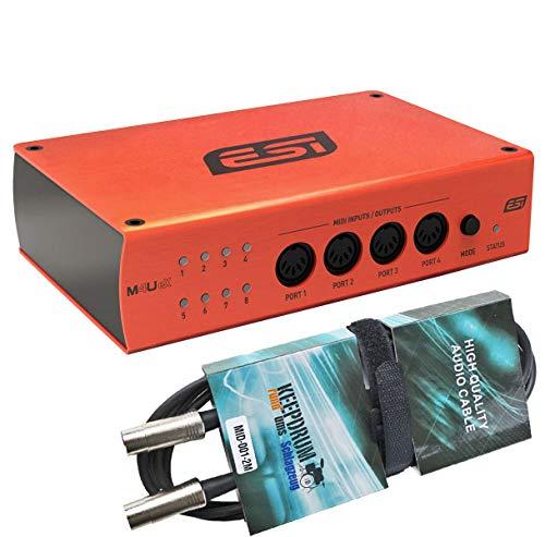 ESI M4U eX USB 3.0 MIDI-Interface mit 8 Ports + keepdrum MIDI-Kabel 2m