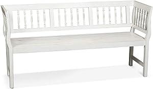 LANTERFANT – Gartenbank Daan, Gartenmöbel, Dreisitzer, Akazien Holz, Erhältlich in Zwei Farben, lackiert, Vintage Weiß