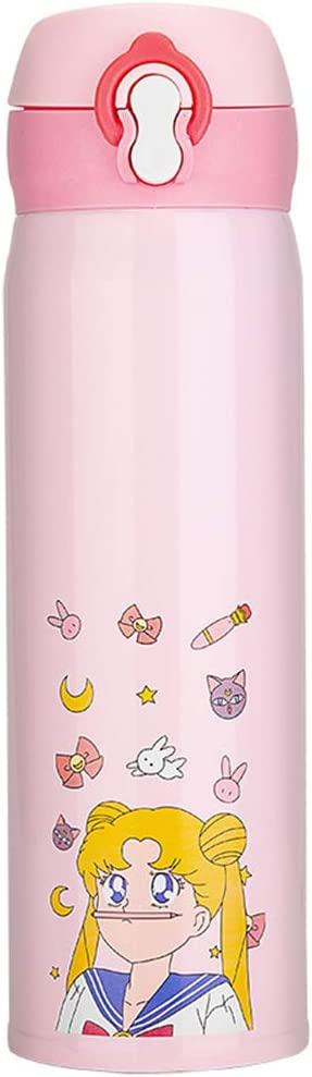 Sailor Moon Mug Cute Flow Cup Portable Cap Water Vacuum Insulation...