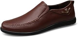 Kirabon Zapatos de Guisantes de Cuero Zapatos Casuales para Hombres Zapatos de Primera Capa de Cuero Bajos (Color : Dark Brown, Size : 43)