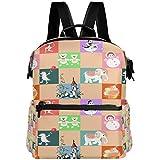 Oarencol Mochila de tartas, diseño de animales coloridos, para escuela, viajes,...