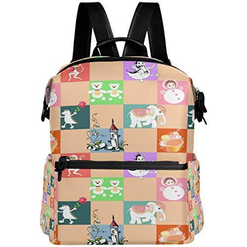 Oarencol Mochila de tartas, diseño de animales coloridos, para escuela, viajes, senderismo, camping, portátil, mochila