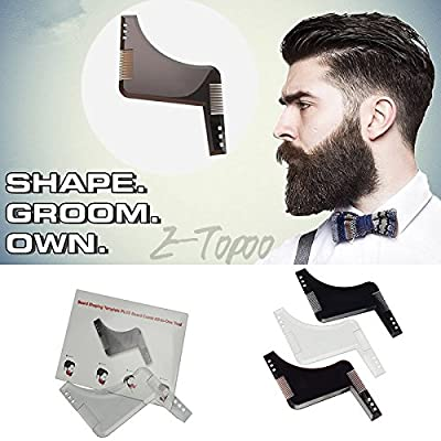 Beard Comb Men Shaping Tool Transparent Template Styling Comb for line up & Edging, Men's Facial Hair Hairline Perfect Symmetric Lines and Trim with Beard Trimmer Hair Clipper or Razor