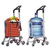 Carrito de compras plegable Carros de supermercado portátiles para subir escaleras con ruedas giratorias y bolsa de lona impermeable extraíble el mejor regalo
