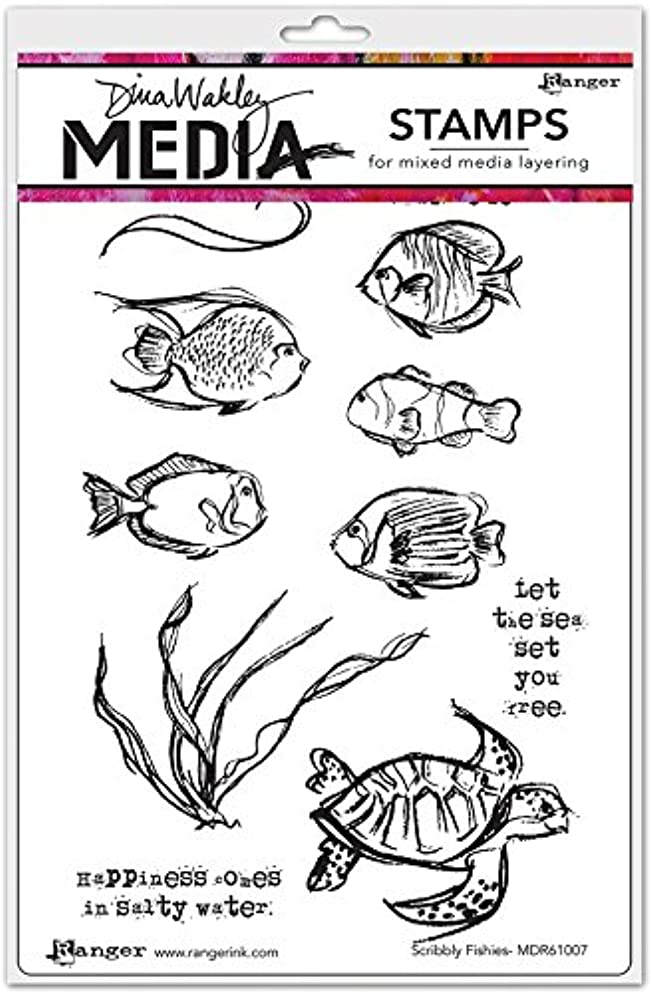 Ranger Scribbly Fishes Dina Wakley Media Cling Stamps 6