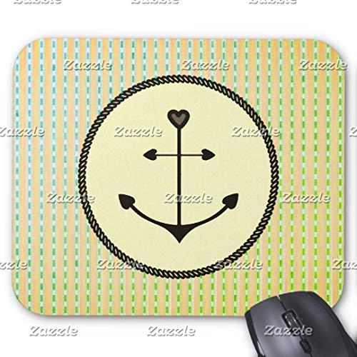 Mouse-Pad 24*20cm | Qualit?ts-Mauspad aus strapazierf?higem Kunststoff mit rutschfester Unterseite aus Zellkautschuk - passend f¨¹r alle g?ngigen Mouse-Anker Herz Creme Limette Pfirsich Checks
