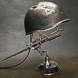 War Relic Lamp Remembering That History,Second World War Soldier's Helmet and Bayonet Battle Decoration Resin Imitation Souvenir Gift Desk Decor Light-Best Souvenir Gift For Military Enthusiast (C)
