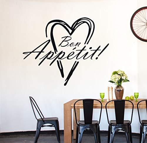 tjapalo® a26 Wandtattoo küche sprüche wandtattoo bon appetit Bon Appétit Esstimmer Küchenaufkleber Guten Appetit, Farbe: dunkelgrau, Größe: H35cB29cm
