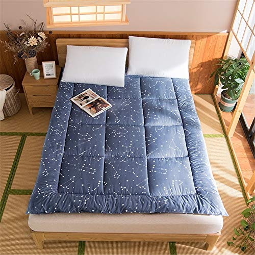 Printing Japanese Mattress Pad Silent Super Soft Fabric Non-slip Foldable Tatami Futon Floor Mat Thicken Breathable Double Single Pad for Adult Child A-100x200cm(39x79inch)