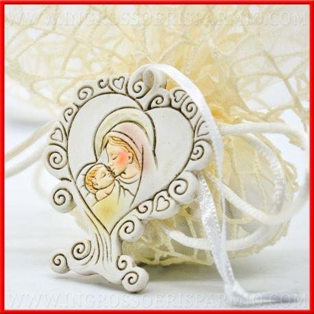Icone sacre in resina colorata a forma di albero della vita decorato di cuoricini,con cuore grande al centro su cui è raffigurata la maternità (Madonna con il bambino Gesù) - Bomboniere sacre, battesimo (kit 12 pz + confezione)