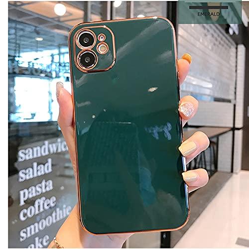 Estuche galvanizado Chapado en Oro de Lujo para iPhone 11 Pro MAX 8 Plus 7 XR XS X Protección de Lente de Silicona 12 Pro MAX SE 2020 Carcasa, T7, para iPhone 7 u 8