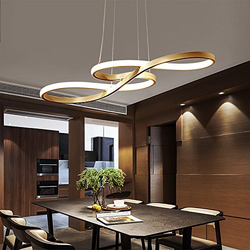 LED Living Room Pendant Lamp, Musical Note Design 49Watt Length 75CM*Width 32CM*Height 30CM stepless dimming, with Remote Control, Living Room, Dining Room, Dining Table Chandelier. (Gold)