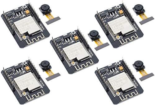 TECNOIOT 5pcs Camera Module ESP32-CAM Bluetooth Module WiFi Board Development ESP32 OV2640 (Camera Included)