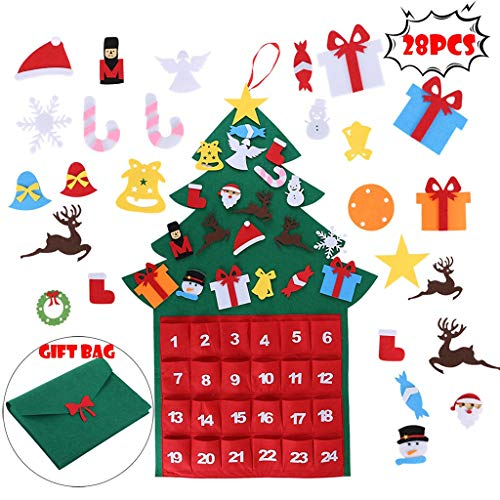 AmiTF DIY Calendar Candy Bag Christmas Tree Set, with Ornaments for Kids, Door Wall Hanging, 39.4 x 20 in