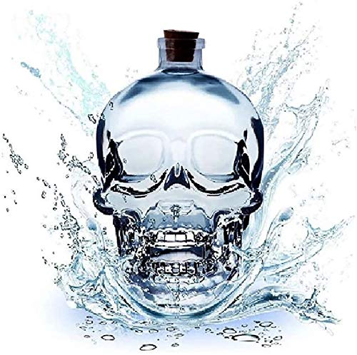 MFSRW Wine Decanter, Whiskey Decanter Crystal Large Skull Face Bottle, Lead-Free Thickened Glass with Cork, Sturdy Scotch And Vodka Shot Glass