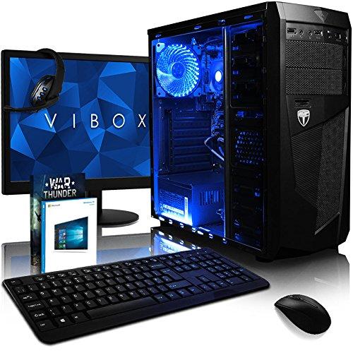 VIBOX Ultra 11X Gaming PC Computer mit War Thunder Spiel Bundle, Windows 10 OS, 22 Zoll HD Monitor (3,4GHz AMD A8 Quad-Core Prozessor, Radeon R7 Grafik Chip, 8Go DDR4 2400MHz RAM, 2TB HDD)