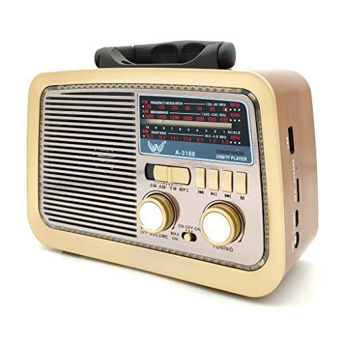 Caixa Som Antiga Retro Radio Portátil Am Fm Sd Usb A3188T COM LANTERNA