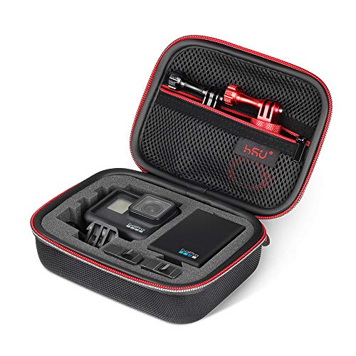 Small Case for GoPro Hero 6,5, 4, 3+, 3,Hero(2018) HSU Carrying Case for Action Cameras and GoPro Accessories(Small Size Red)
