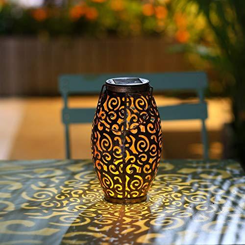 Papasbox Solar Laterne für außen, Solarleuchte Solar Hängende Tischleuchte als Deko IP44 Wasserdicht Solarlampe für Garten Hof Patio Balkon Schwarz