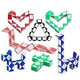 Herefun 10 Pezzi 24 Blocchi Cubi di Serpente Magico Twistato Mini Cubo Velocità, Giocattoli Educativi per Bambini, Colori Casuali