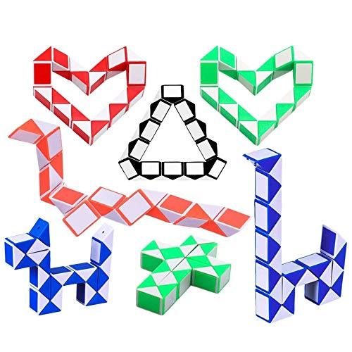 Herefun 10 Piezas de 24 Bloques Magic Snake Cube, Mini Cubos de Serpiente, Snake Twist Toys Juguete para Relleno de Bolsa de Fiesta de Niños, Favores de Fiesta - Colores al Azar