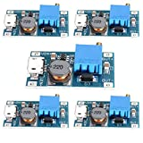HiLetgo 5個セット 2A DC-DC ブーストステップアップ 転換モジュール Micro USB 2V-24V to 5V-28V 9V 12V 24V