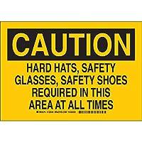 """Brady 128544個人用保護具サイン、凡例""""ハード帽子、安全メガネ、常時安全靴""""、7""""高さ、10""""幅、黒地に黒"""