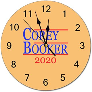 Tian Smile Corey Booker President 2020 10 inch Wall Clock, Silent, Graduated Battery Power, Suitable for Home Office and School use