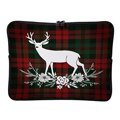 Bolsa de manga para ordenador portátil portátil PC neopreno protección cremallera caso cubierta feliz Navidad saludo ciervos blanco-color15 17 pulgadas