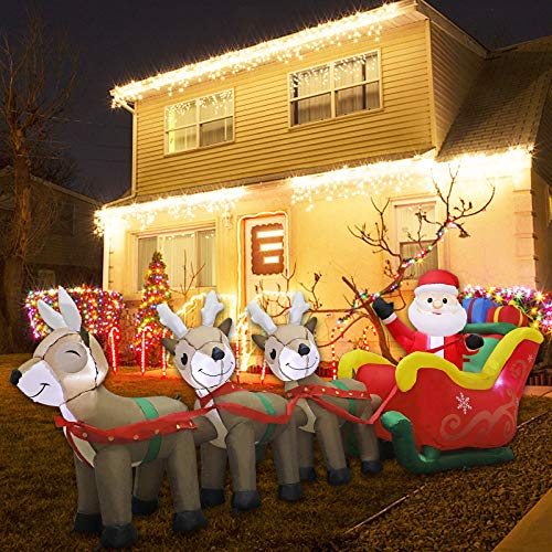 MorTime 9.5 FT Christmas Inflatable Santa Claus on Sleigh Pulled by Three Reindeers with Gift Boxes, Blow up Lighted Xmas Yard Decor with LED Lights for Christmas Outdoor Decorations