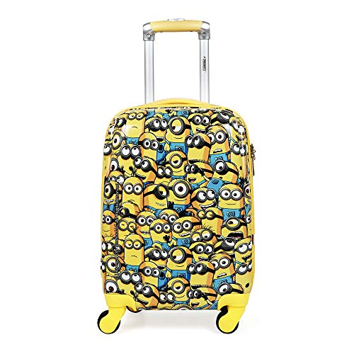Priority Minion Group 18 inch / 46 cm Yellow Polycarbonate Kid's Hardcase Trolley Bag | Travel Luggage for Boys & Girls (24455)