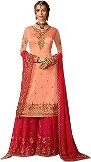 Peach Eid special Designer Satin Georgette Embroidery Swarovski Semi-stitched Garara Suit Women Bespoke 7853