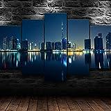 UIOJH Cuadro En Lienzo Personalizado 5 Piezas Modernos Impresión De Imagen ArtíStica Dubai Emiratos Emiratos Árabes Unidos 5 Paneles Impresiones Sobre ImáGenes Salón Decoración Para El Hogar 150x80cm