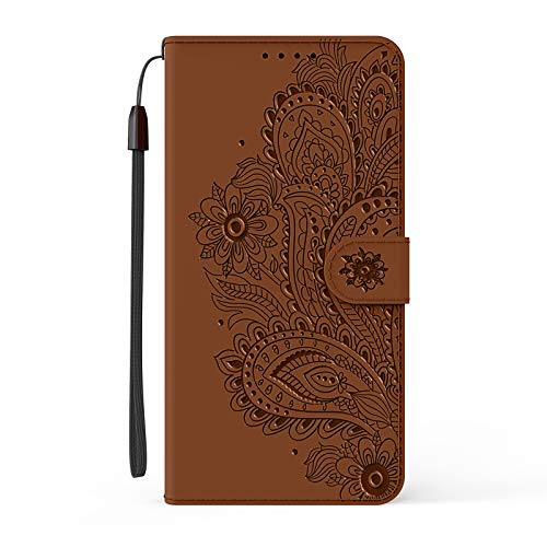 Funda para Nokia 3.4 con tapa para Nokia 3.4, diseño de flores de pavo real, a prueba de golpes, funda de piel sintética con tarjetero, carcasa magnética de silicona para Nokia 3.4, color marrón