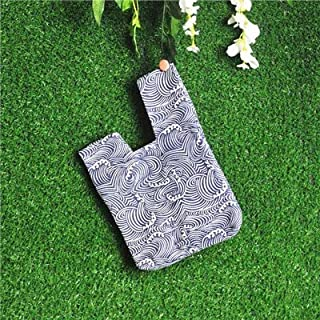 iBag's Japanese Style Wind Simple Knot Wrist Bag Coin Purse Mobile Phone Key Small Bag Grid Wave Handmade Square Bag