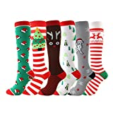 canlan Calcetines largos de Navidad para calzado, accesorios de árbol de ciervo a rayas de poliéster y nailon, 6 unidades, calcetines de compresión de altura hasta la rodilla