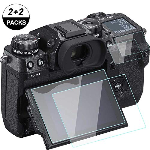 XH1 Screen Protector Compatible for Fujifilm X-H1 Top & LCD Screen [2+2Pack], WH1916 Tempered Glass Anti-Bubble Anti-Dust Anti-Scrach