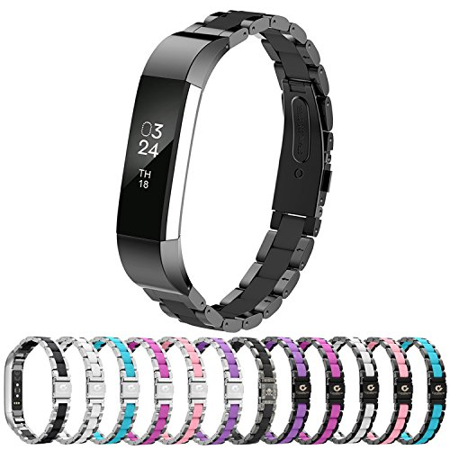 Greeninsync Compatible with Fit Bit Alta HR and Alta Bands Metal, Replacement for Fit Bit Alta Stainless Steel Bands Adjustable Accessories Metal Wristband Small Large for Fit Bit Alta Bracelet-Black