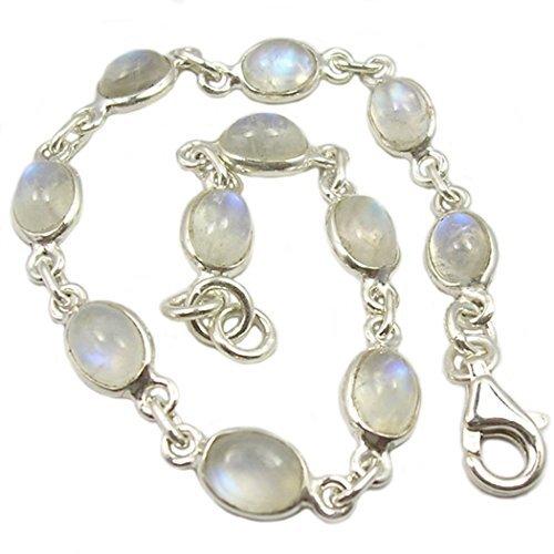 Regenbogen-Mondstein-Armband in Sterling Silber, Steingröße 5x 14mm