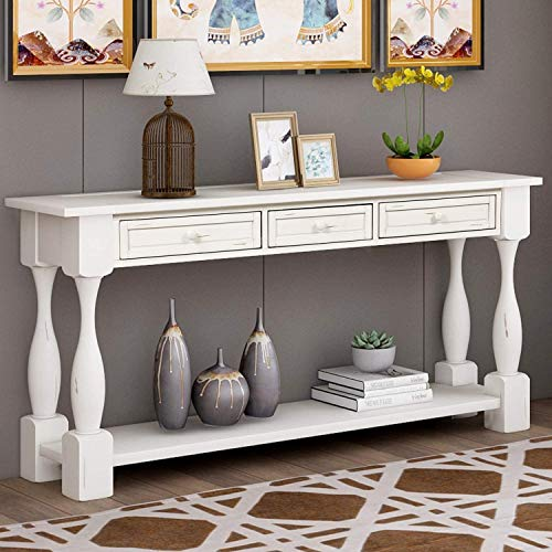 Long Antique Entry Console 64 Inch Table with Drawers & Bottom Open Shelf, Solid Wood Sofa Couch Table for Entryway Hallway Living Room (Antique White)