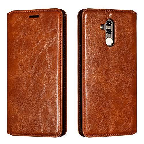 Docrax Huawei [Mate 20 Lite] Handyhülle, Hülle Leder Case mit Standfunktion Magnetverschluss Flipcase Klapphülle kompatibel mit Huawei Mate 20Lite - DOYTE020280 Braun