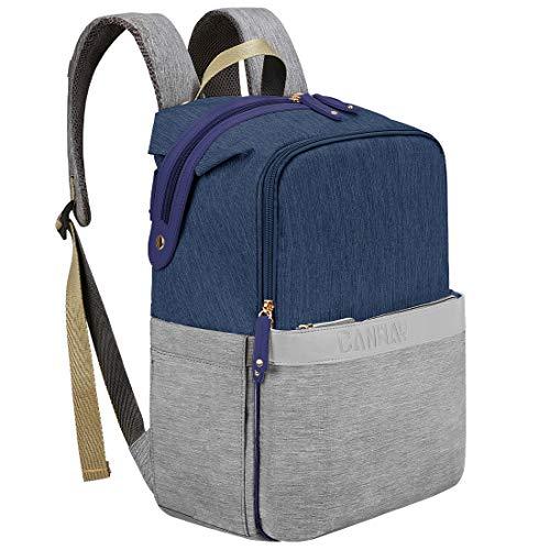 CANWAY Baby Wickeltasche Wickelrucksack Babytasche für Reise, Multifunktionale Windeltasche mit Thermotasche, Große Kapazität Wasserdicht Babyrucksack für Mama und Papa (Blau&Grau)