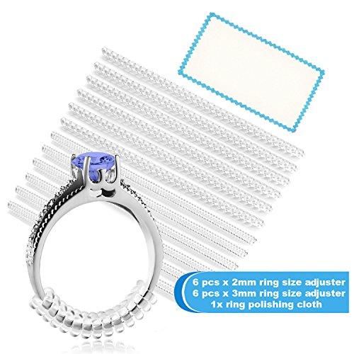 Ring Size Adjuster for Loose Rings – Jewelry Guard, Spacer, Sizer, Fitter – 12 Pack, 2 Sizes – Spiral Silicone Tightener Set with Polishing Cloth