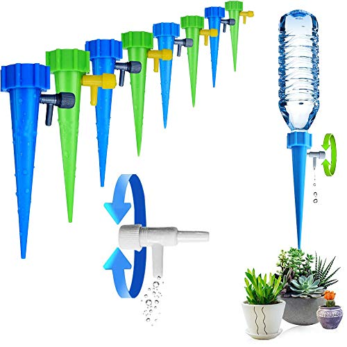 ARTEM Plant Waterer Self Watering Spikes System Automatic Vacation Drip Irrigation Watering Devices with Slow Release Control Valve Switch for Garden Plants Indoor & Outdoor (12 Packs)